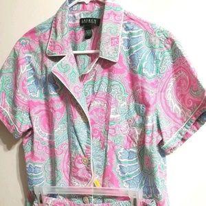 Lauren Ralph Lauren Paisley Pajama Short 2 Pc O2-E